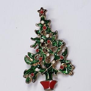 Vintage enameled Christmas tree brooch
